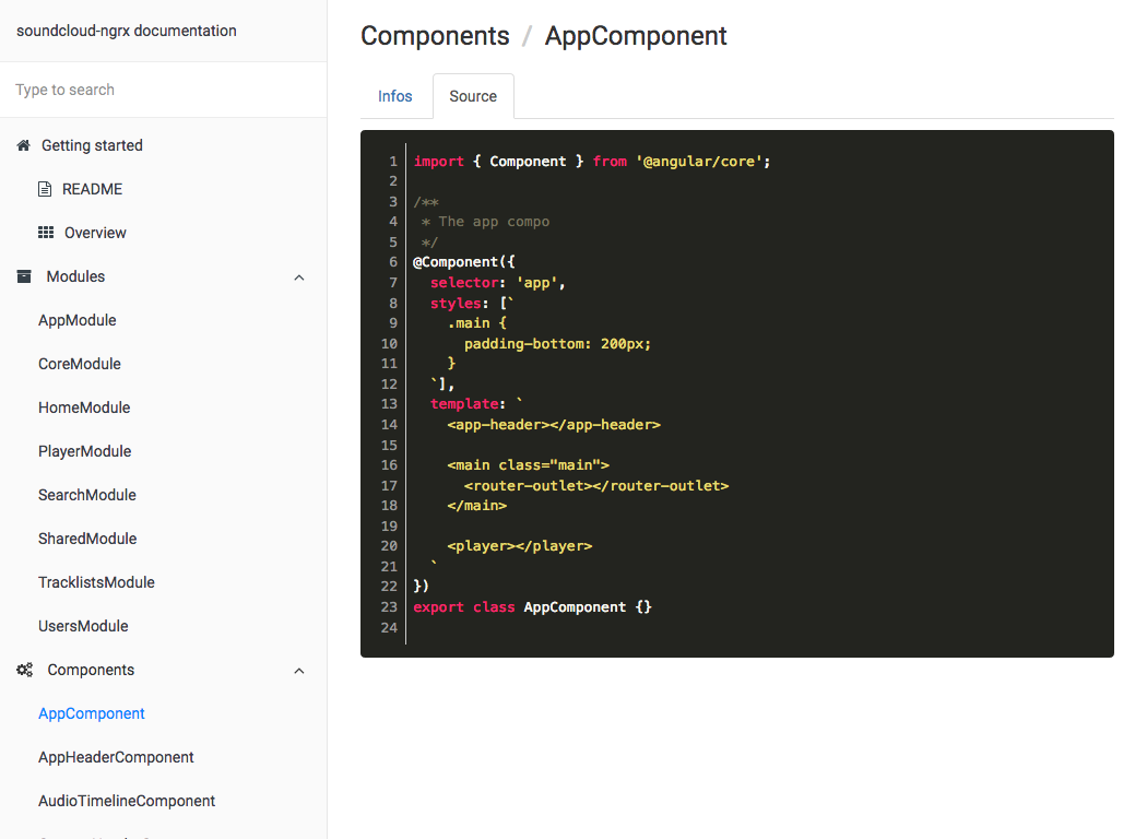 Compodoc The Missing Documentation Tool For Your Angular Application Electronic Selector 8 Sources Source Code Tab